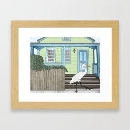 Great Egret and House Framed Art Print