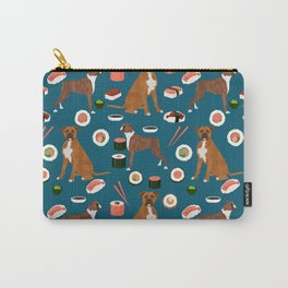 Boxer dog pattern sushi dog lover pet portraits boxers dog breed by pet friendly Carry-All Pouch