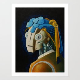 Robot with a Pearl Earring Art Print
