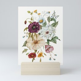 Colorful Wildflower Bouquet on White Mini Art Print