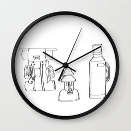 Camping Supplies Black and White Digital Design Wall Clock