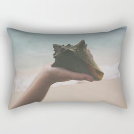Hand Holding Conch Shell by Ocean Rectangular Pillow