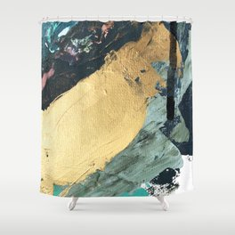 Supernova: an abstract mixed media piece in gold with blues, greens, and a hint of pink Shower Curtain