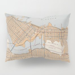 Vintage Map of Vancouver Canada (1915) Pillow Sham