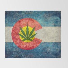 Retro Colorado State flag with leaf - Marijuana leaf that is! Throw Blanket
