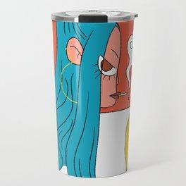 Blue hair girl Travel Mug