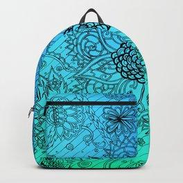 Flower Zen: Blue-Green Fade Backpack