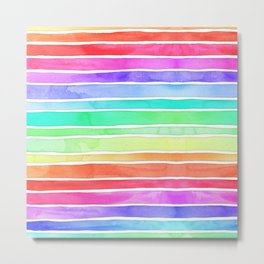 Bright Rainbow Colored Watercolor Paint Stripes Metal Print