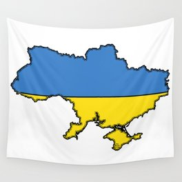 Ukraine Map with Ukrainian Flag Wall Tapestry