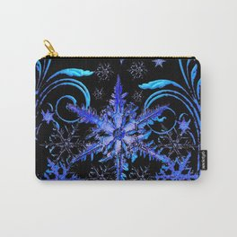 DECORATIVE BLACK & BLUE WINTER SNOWFLAKE FANTASY ART Carry-All Pouch