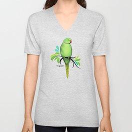 Green Indian Ringneck Parrot Unisex V-Neck