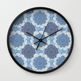 Lacy Blue & Navy Mandala Pattern  Wall Clock