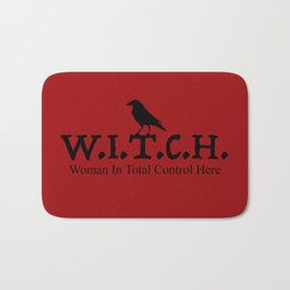 W.I.T.C.H. Woman in Total Control Here - red/black Bath Mat