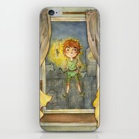 peter pan iPhone & iPod Skins featuring Peter Pan by Allyson Kelley