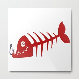 Pirate Bad Fish red- pezcado Metal Print