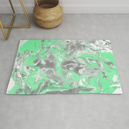 Light green and gray Marble texture acrylic paint art Rug