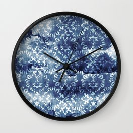 Indigo Batik Abstract Wall Clock