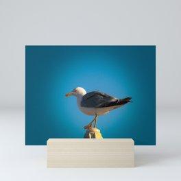 Seagul at the beach Mini Art Print