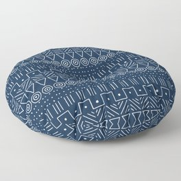 Mudcloth Style 1 in Navy Floor Pillow