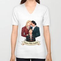 swan queen V-neck T-shirts featuring Swan Mills family by afterlaughtersart