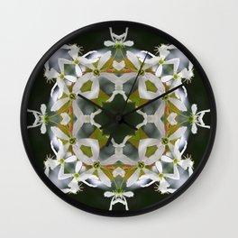 Lacy Serviceberry Mandala - Amelanchier blossoms 0033 k1 Wall Clock