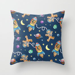 Gingerbread Astronauts Throw Pillow
