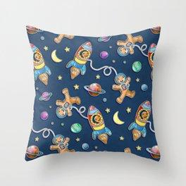 Gingerbread Astronauts Throw Pillow