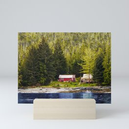 Old Houses on Evergreen Covered Coast Mini Art Print