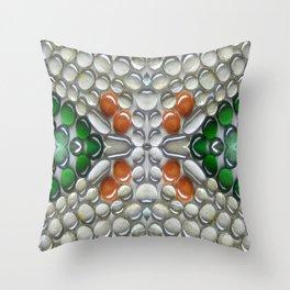 Terracotta Glass Bead Mosaic Throw Pillow