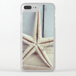 Pale Starfish on Blue Clear iPhone Case