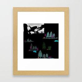 Through The Trees. Trees, Birds, Abstract, Black, White, Jodilynpaintings Framed Art Print