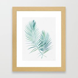 Twin Palm Fronds - Teal Framed Art Print