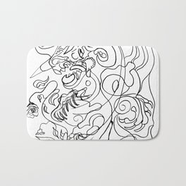 Dragon with rose Bath Mat