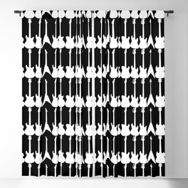 Guitar Silhouettes White on Black Pattern Blackout Curtain
