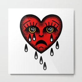Traditional tattoo sad heart Metal Print
