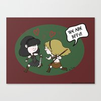 xena Canvas Prints featuring Heroic BFFs!! by Deborah Picher Illustrations