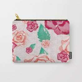 Pink and Peach Flowers in Watercolor Carry-All Pouch