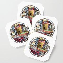 Times Square New York City (badge emblem on white) Coaster