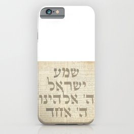Shema Israel - Hebrew Jewish Prayer with Kabbalah Manuscript iPhone Case