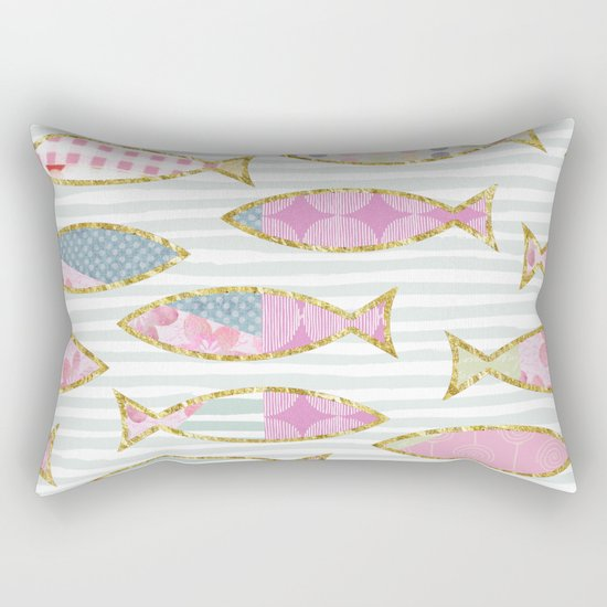 Fancy Fish pastel patchwork pattern Rectangular Pillow
