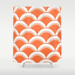 Japanese Fan Pattern Orange Shower Curtain