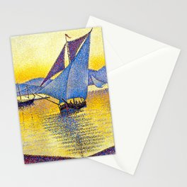 French Paul Signac - The Port at Sunset. Saint-Tropez Stationery Cards