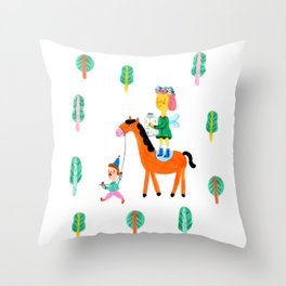 Colorful Cheerful Forest Throw Pillow