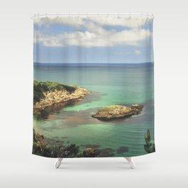 Dream coast. Retro Shower Curtain