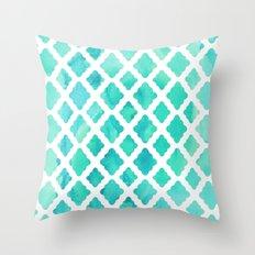 Watercolor Mint Diamonds Throw Pillow