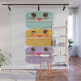 Kawaii macaroon funny orange blue lilac cookie with pink cheeks with pink cheeks and big eyes Wall Mural