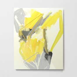 Abstract Yellow Painting - Minimalist Art Print - Home Decor Metal Print