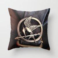 mockingjay Throw Pillows featuring Mockingjay by AndyGD