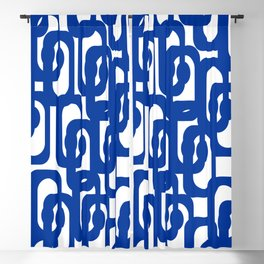 Bright Blue and White Mid-century Modern Loop Pattern  Blackout Curtain