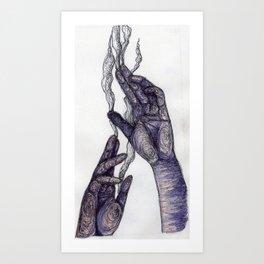 Smoking Hands Art Print
